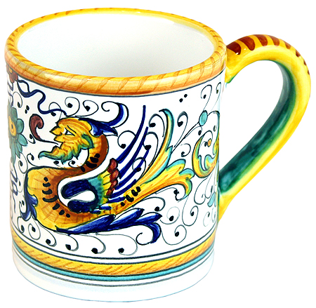 ceramic majolica coffee mug cup raffaellesco small F