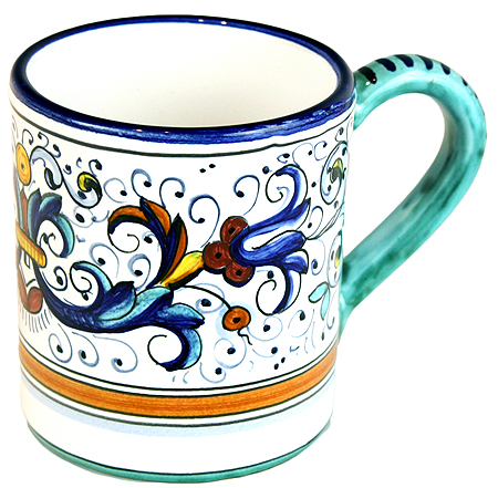ceramic majolica coffee mug cup ricco deruta small F