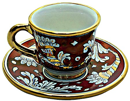 Ceramic Majolica Coffee Tea Cup saucer Red Gold Leaf