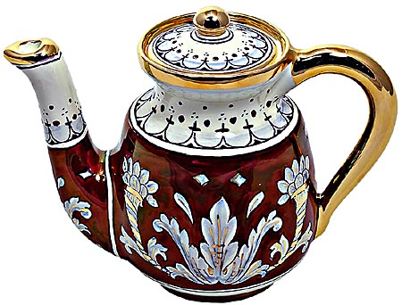 Ceramic Majolica Coffee Tea Pot Red Gold Leaf 15cm