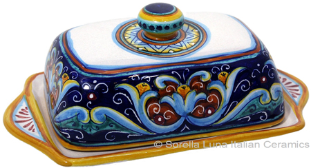 Ceramic Maiolica Covered Butter Dish Tray Ricco Vario