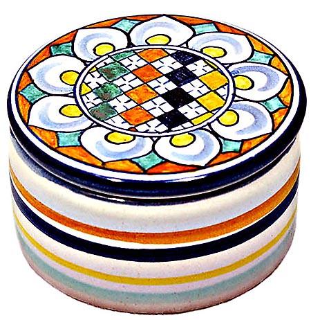 Ceramic Maiolica Covered Checker Flower Cylinder Box 6cm