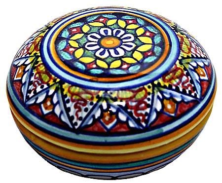 Ceramic Majolica Covered Curved Box Geometrical 8 Red 7