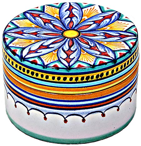 Ceramic Majolica Covered Cylinder Box Red Star 5cm