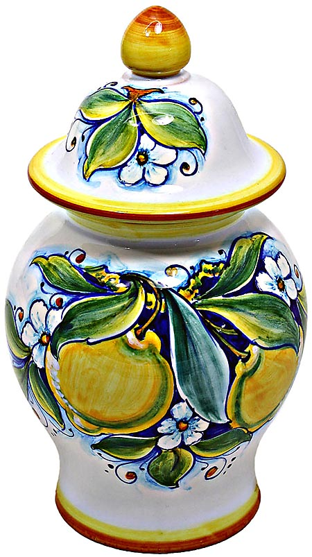 Ceramic Majolica Covered Jar Limoni Classic GG 23cm