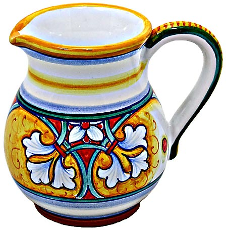 Ceramic Majolica Creamer Yellow Red Fleur de Lis 10cm