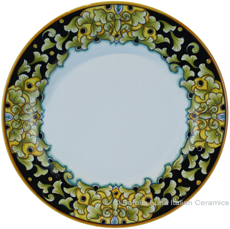 Deruta Italian Dinner Plate - Acanthus Black/Yellow