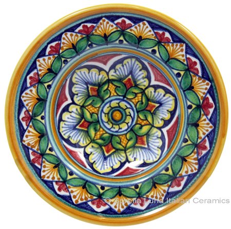 Ceramic Majolica Dipping Plate Green Red Yellow 12cm