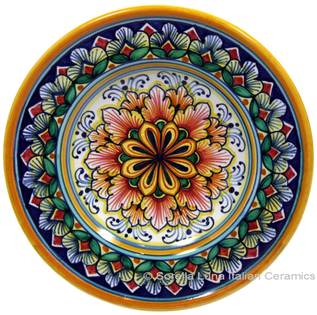Ceramic Majolica Dipping Plate Red Green 15cm