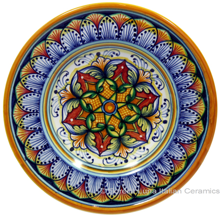 Ceramic Majolica Dipping Plate Red Light Blue 15cm