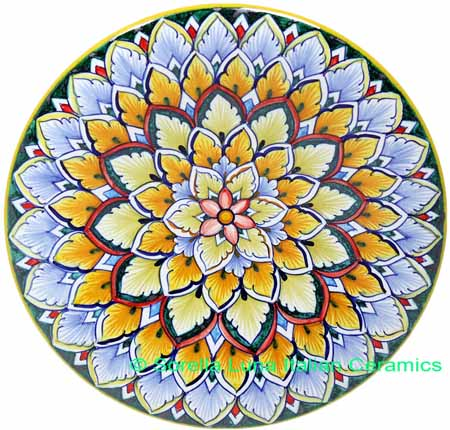 ceramic majolica g06 plate blue yellow green 739 20cm