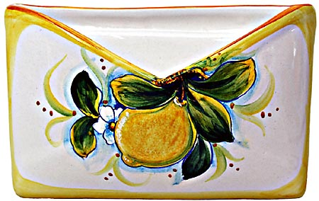Ceramic Majolica Letter Holder Mail Lemon 18cm