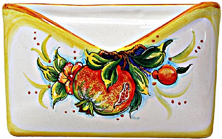 Ceramic Majolica Letter Holder Mail Pomegranate 18cm