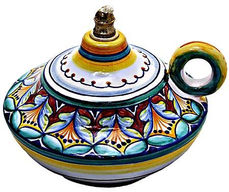 Ceramic Majolica Oil Lamp 1206 10 Handle Red Yellow