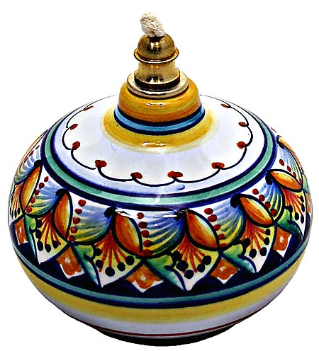 Ceramic Majolica Oil Lamp 1206 11 Blue Orange Vario