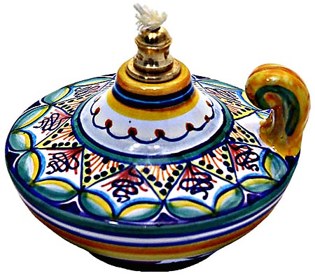Ceramic Majolica Oil Lamp Handle 1206 8 Blue Grn Red