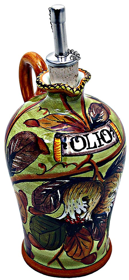 Ceramic Majolica Olive Oil Dispenser Pomegranate N 20cm