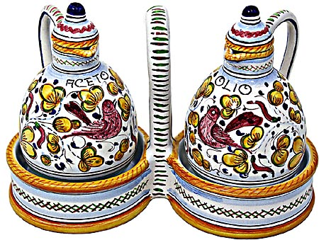 Ceramic Majolica Olive Oil Vinegar Cruet Arabesco YL 15