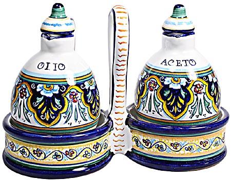 Ceramic Majolica Olive Oil Vinegar Cruet Jubilant WB 15