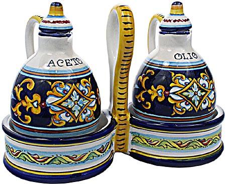 Ceramic Majolica Olive Oil Vinegar Cruet Ricco Vario 15