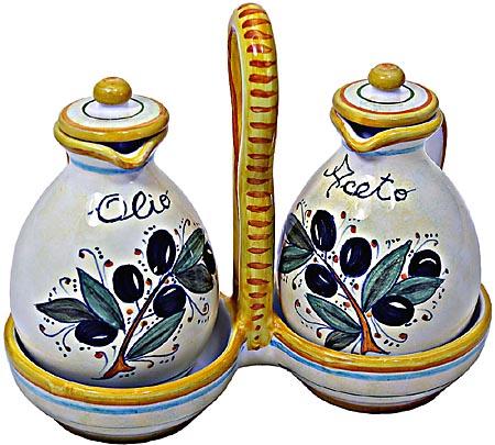 Ceramic Majolica Olive Oil Vinegar OL2 17cm