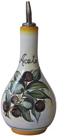 Ceramic Majolica Vinegar Dispenser Green Black N 20cm