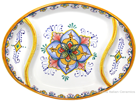 Ceramic Maiolica Oval Antipasto Serving Tray Dish 26cm