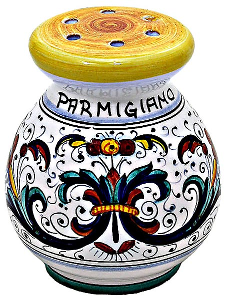 Ceramic Majolica Parmesian Cheese Shaker Ricco Deruta
