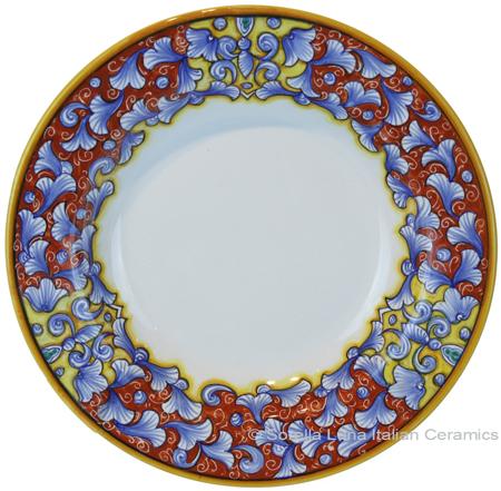 Deruta Italian Pasta Plate - Acanthus Red/Yellow