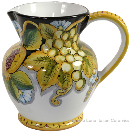 Ceramic Majolica Pitcher Fruit