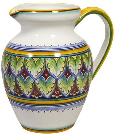 Ceramic Majolica Pitcher Green Red Yellow 964
