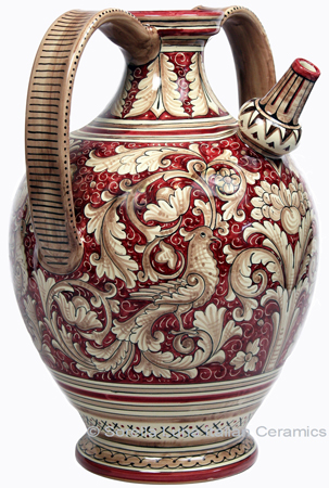 Ceramic Majolica Pitcher Handle Red Doves Birds FD 45