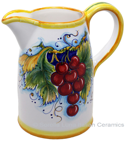 Ceramic Majolica Pitcher Red Grapes 1210 20cm