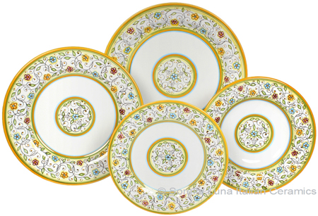 Deruta Italian Ceramic Dinner Place Setting - Floreale