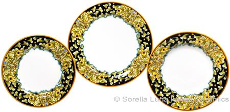 Deruta Italian Ceramic Dinner Place Setting - Acanthus Black/Yellow