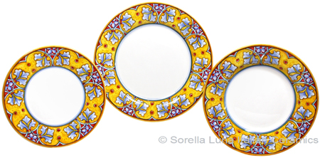 Deruta Italian Ceramic Dinner Place Setting - FDL Yellow/Soft Blue