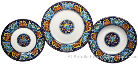 Deruta Italian Ceramic Dinner Place Setting - Ricco Vario 6