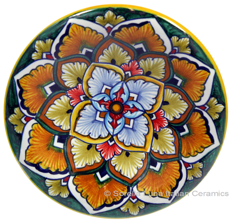 Ceramic Majolica Plate G04 Green Orange Red 12cm