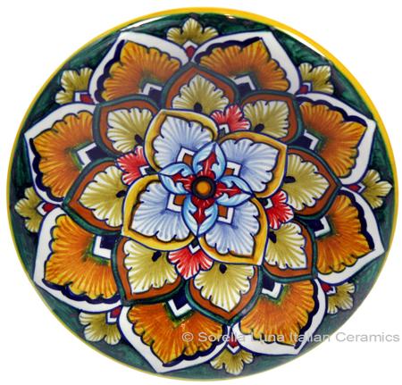 Ceramic Majolica Plate G04 Green Orange Red 12cm