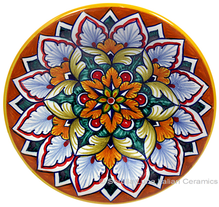Ceramic Majolica Plate G04 Orange Green Red 12cm