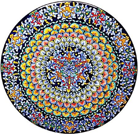 Ceramic Majolica Plate G06 Rainbow Blue Green 739 52cm