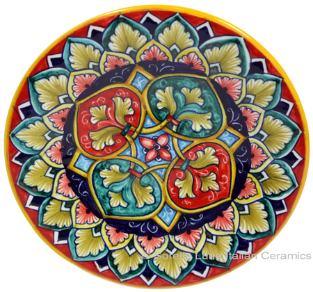 Ceramic Majolica Plate GEO Green Red 15cm