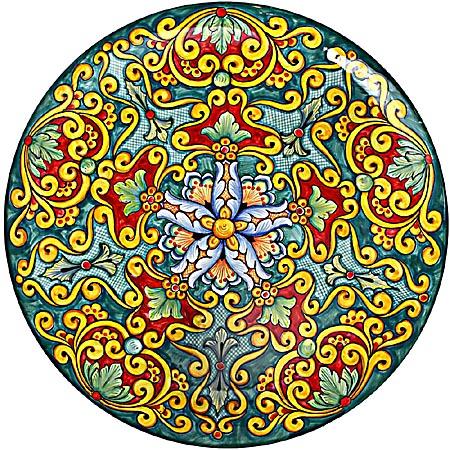 Ceramic Majolica Plate Vario Ricco Green R Y 739 35cm