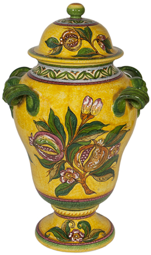 Ceramic Yellow Pomegrante Urn
