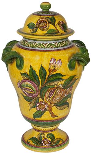 Ceramic Yellow Pomegrante Urn