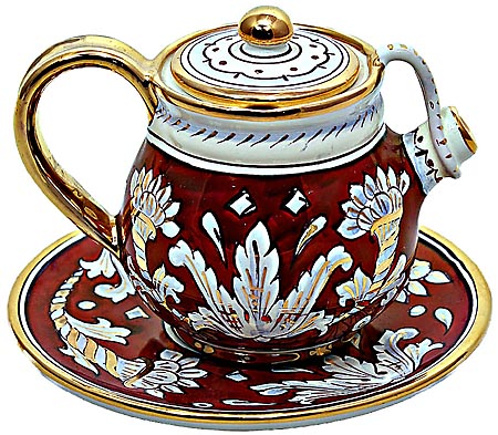 Ceramic Majolica Tea Coffee Pot Saucer Red Gold Leaf 12