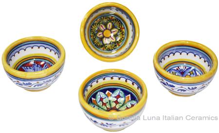 Italian Ceramic Maiolica Vario Bowl set GG 6cm