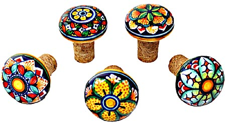 Ceramic Majolica Wine Cork Set of 5 GG 5cm
