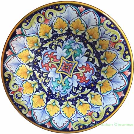 Ceramic Majolica Plate Geometrico Red Green