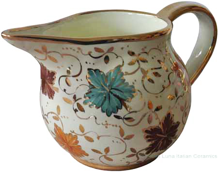 Ceramic Serving Pitcher - Gold Autumn Leaf 24cm